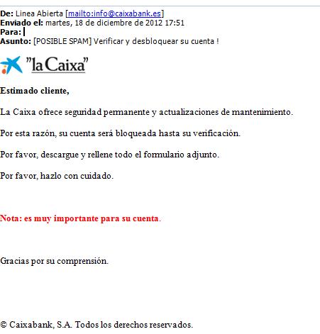 Phishing de la caixa servicios inform ticos for La caixa oficina internet